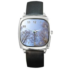 Large Trees In Sky Square Leather Watch by yoursparklingshop