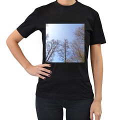 Large Trees In Sky Women s Two Sided T Shirt (black)