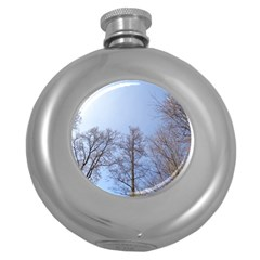 Large Trees In Sky Hip Flask (round)