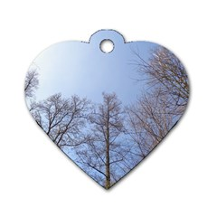 Large Trees In Sky Dog Tag Heart (two Sided)