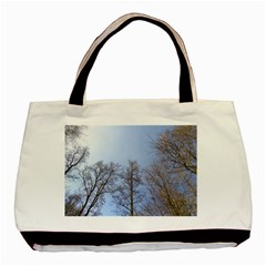 Large Trees In Sky Twin Sided Black Tote Bag
