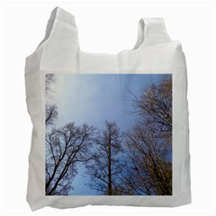 Large Trees In Sky White Reusable Bag (two Sides)