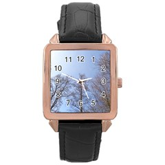 Large Trees In Sky Rose Gold Leather Watch