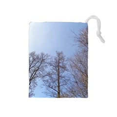 Large Trees In Sky Drawstring Pouch (medium)