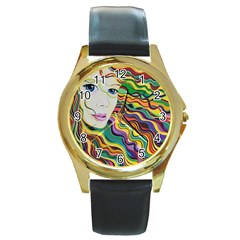 Inspirational Girl Round Leather Watch (gold Rim)  by sjart