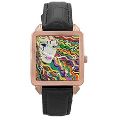 Inspirational Girl Rose Gold Leather Watch  by sjart