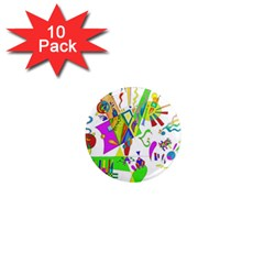 Splatter Life 1  Mini Button Magnet (10 Pack) by sjart
