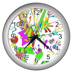 Splatter Life Wall Clock (silver) by sjart