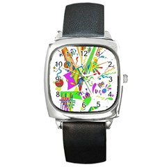 Splatter Life Square Leather Watch by sjart