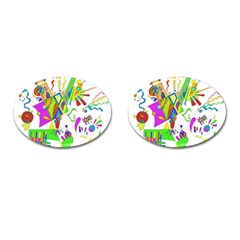 Splatter Life Cufflinks (oval) by sjart