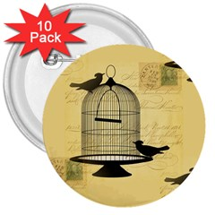 Victorian Birdcage 3  Button (10 Pack) by boho