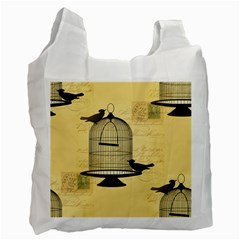 Victorian Birdcage White Reusable Bag (one Side) by boho