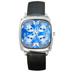 Skydivers Square Leather Watch by icarusismartdesigns
