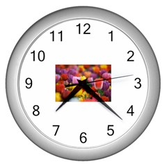 Flower Wall Clock (silver) by habiba4true