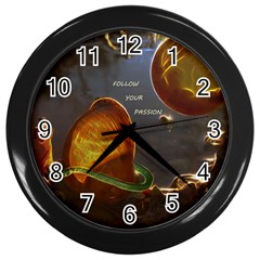 Follow Your Passion Wall Clock (black) by lucia