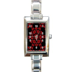 Red Alaun Crystal Mandala Rectangular Italian Charm Watch by lucia