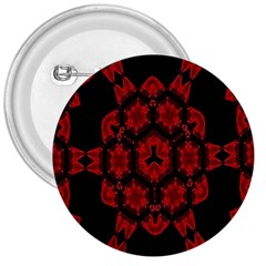 Red Alaun Crystal Mandala 3  Button by lucia
