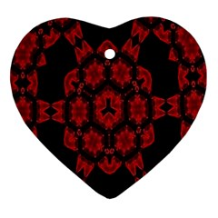 Red Alaun Crystal Mandala Heart Ornament by lucia