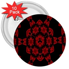 Red Alaun Crystal Mandala 3  Button (10 Pack) by lucia