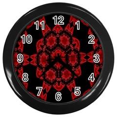 Red Alaun Crystal Mandala Wall Clock (black) by lucia