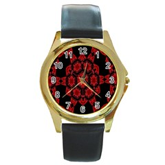 Red Alaun Crystal Mandala Round Leather Watch (gold Rim)  by lucia