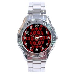 Red Alaun Crystal Mandala Stainless Steel Watch by lucia