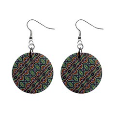 Colorful Tribal Geometric Print Mini Button Earrings by dflcprintsclothing