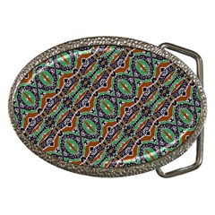 Colorful Tribal Geometric Print Belt Buckle (oval) by dflcprintsclothing