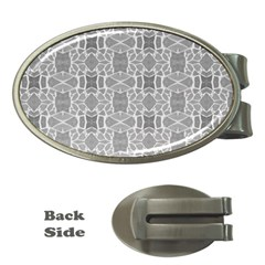 Grey White Tiles Geometry Stone Mosaic Pattern Money Clip (oval) by yoursparklingshop