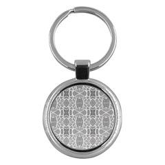 Grey White Tiles Geometry Stone Mosaic Pattern Key Chain (round) by yoursparklingshop