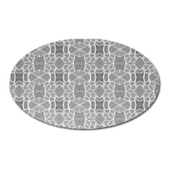 Grey White Tiles Geometry Stone Mosaic Pattern Magnet (oval) by yoursparklingshop