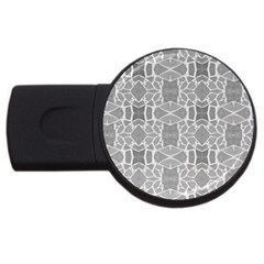 Grey White Tiles Geometry Stone Mosaic Pattern 2gb Usb Flash Drive (round) by yoursparklingshop