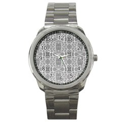 Grey White Tiles Geometry Stone Mosaic Pattern Sport Metal Watch by yoursparklingshop