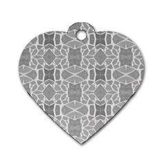 Grey White Tiles Geometry Stone Mosaic Pattern Dog Tag Heart (two Sided) by yoursparklingshop