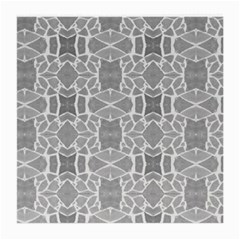 Grey White Tiles Geometry Stone Mosaic Pattern Glasses Cloth (medium) by yoursparklingshop