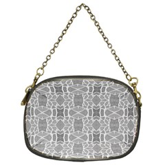 Grey White Tiles Geometry Stone Mosaic Pattern Chain Purse (one Side) by yoursparklingshop