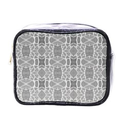 Grey White Tiles Geometry Stone Mosaic Pattern Mini Travel Toiletry Bag (one Side) by yoursparklingshop