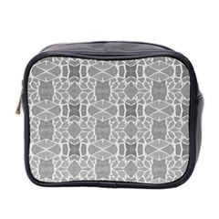 Grey White Tiles Geometry Stone Mosaic Pattern Mini Travel Toiletry Bag (two Sides)