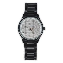 Grey White Tiles Geometry Stone Mosaic Pattern Sport Metal Watch (black) by yoursparklingshop