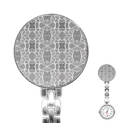 Grey White Tiles Geometry Stone Mosaic Pattern Stainless Steel Nurses Watch by yoursparklingshop