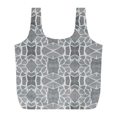 Grey White Tiles Geometry Stone Mosaic Pattern Reusable Bag (l) by yoursparklingshop