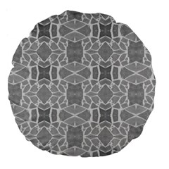 Grey White Tiles Geometry Stone Mosaic Pattern Large 18  Premium Flano Round Cushion  by yoursparklingshop