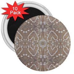 Love Hearts Beach Seashells Shells Sand  3  Button Magnet (10 Pack) by yoursparklingshop