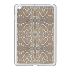 Love Hearts Beach Seashells Shells Sand  Apple Ipad Mini Case (white) by yoursparklingshop