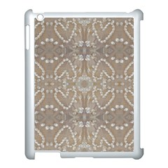 Love Hearts Beach Seashells Shells Sand  Apple Ipad 3/4 Case (white) by yoursparklingshop