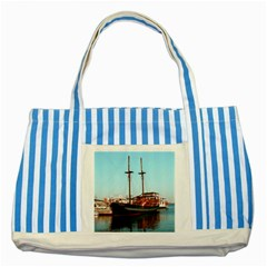 Travel Blue Striped Tote Bag by infloence