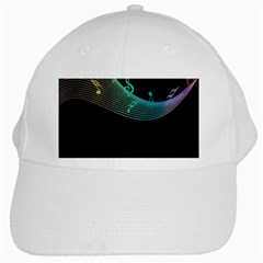 Musical Wave White Baseball Cap by urockshop
