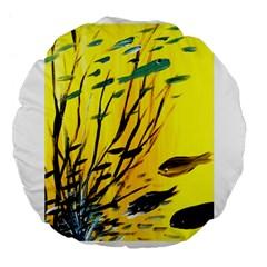 Yellow Dream Large 18  Premium Flano Round Cushion