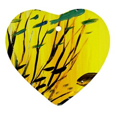Yellow Dream Heart Ornament (Two Sides) by pwpmall