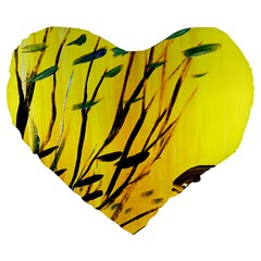 Yellow Dream Large 19  Premium Heart Shape Cushion by pwpmall